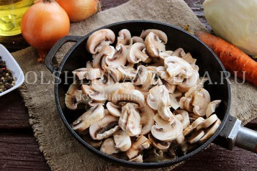 Капуста тушёная с грибами Рецепты очень вкусно. Приготовление